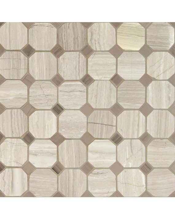 M S International - Natural Stone Marble White Oak Octagon Honed Honed Pattern Marble