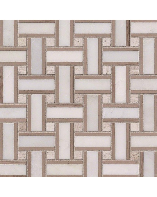 M S International - Natural Stone Marble Renaissance Basketweave Honed Pattern Marble