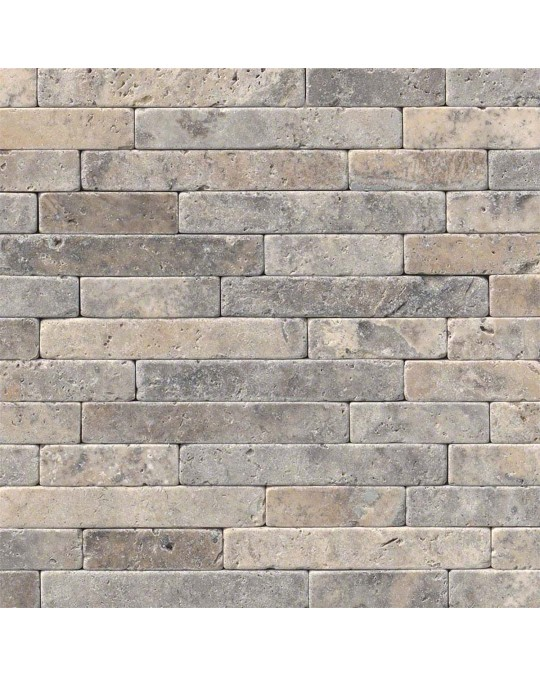 M S International - Natural Stone Travertine Silver Ash Tumbled Veneer Tumbled Pattern Travertine