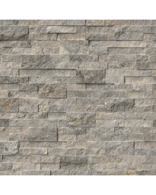 M S International - Natural Stone Ledgers Silver Travertine Panel Split Face 6 X 24 Ledgers